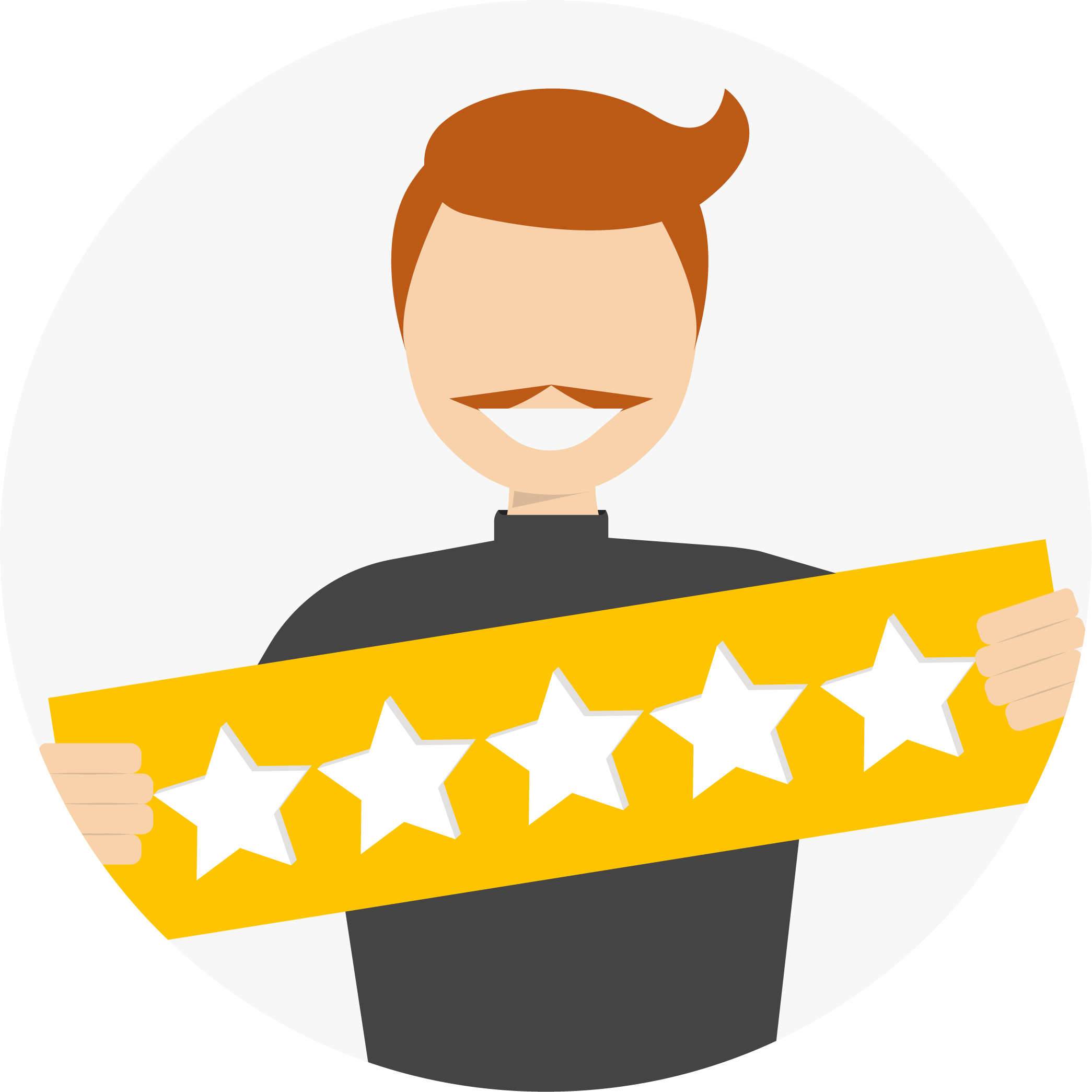 usuario segurando plaquinha com 5 estrelas