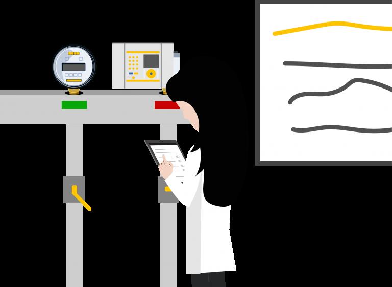 Mulher fazendo calibração de manômetro
