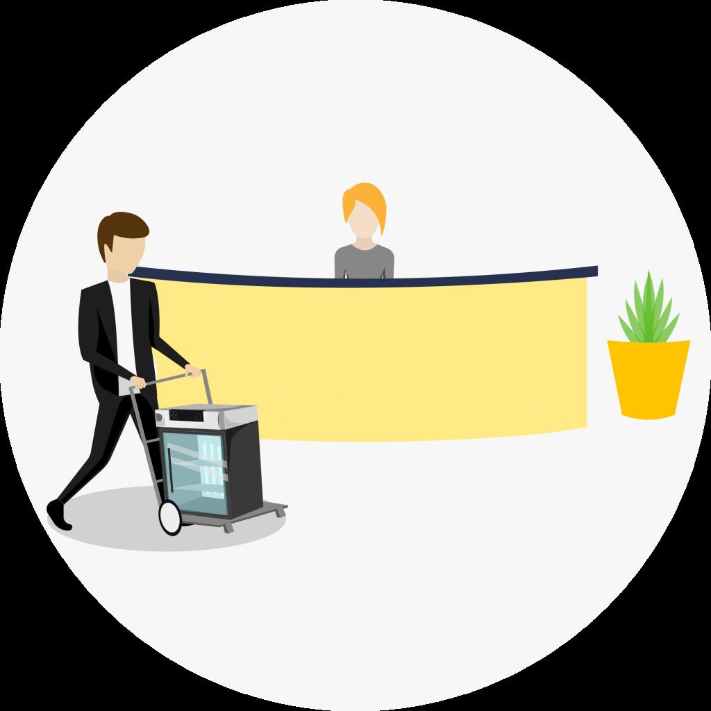 Recepção, com duas pessoas, um homem e uma mulher, o homem esta carregando o equipamento e a mulher está atrás do balcão
